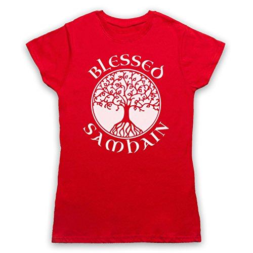 Blessed Samhain Gaelic Festival Camiseta para Mujer Rojo