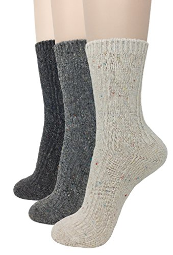 Eedor Womens 3 Pairs Winter Knitting Warm Wool Crew Socks Casual A2 (Gifts That Are Delivered)