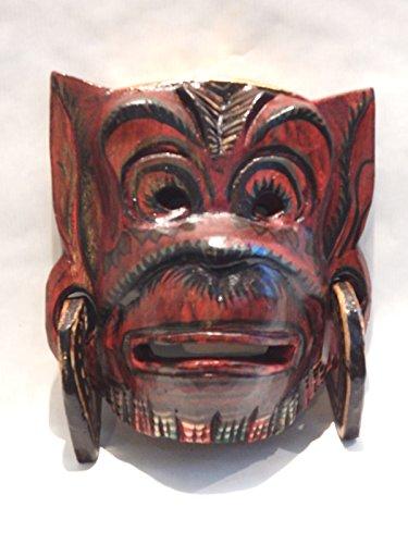 (Wooden Hanoman Monkey Mask Hand Carved Wood Bali Wall Decor Art #N3407)