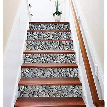 FLFK 3D Cobblestone Stair Risers Sticker Removable Pebbles Staircase Stickers Home Decor 39.3