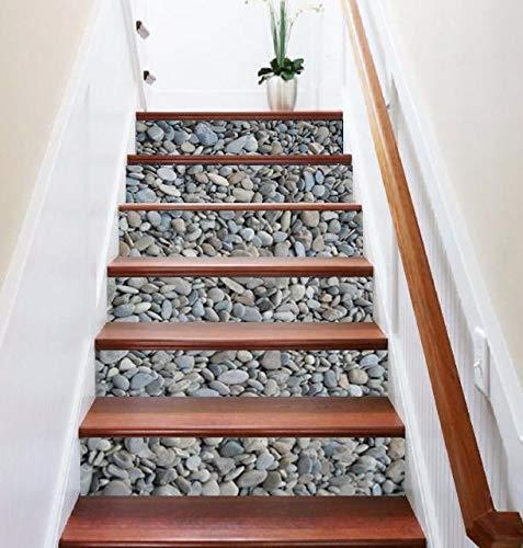 (FLFK 3D Cobblestone Stair Risers Sticker Removable Pebbles Staircase Stickers Home Decor 39.3