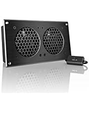"""AC Infinity AIRPLATE S5, Quiet Cooling Fan System 8"""" with Speed Control, for Home Theater AV Cabinets"""