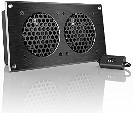 AC Infinity AIRPLATE S5, Quiet Cooling Fan System 8″ with Speed Control, for Home Theater AV Cabinets