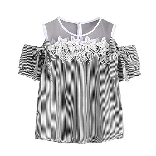 Quartly Women Short Sleeve Off Shoulder Striped Lace Mesh Tops Shirts Summer T-Shirt Pullover Casual Blouse (XXL, (Striped 2fer Top)