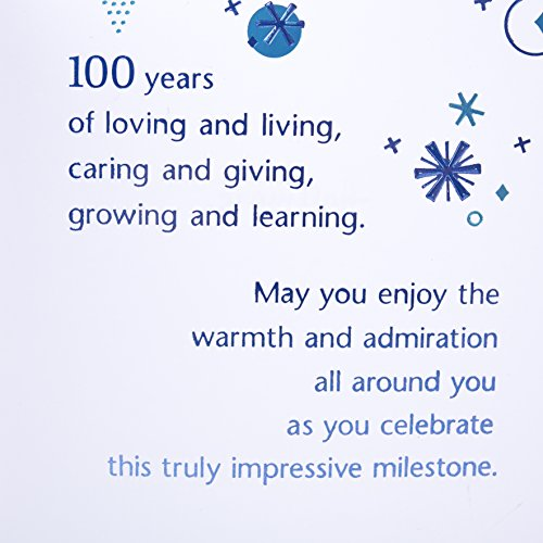 Hallmark 100th Birthday Greeting Card 100th with Confetti – 100th Birthday Greetings