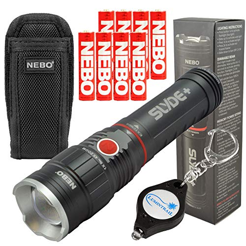 NEBO SLYDE+ LED Flashlight Work Light with 4 Extra Nebo AAA Batteries, Holster and Lumintrail Keychain Light ()