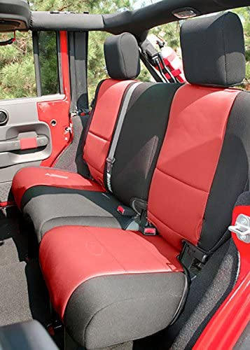 4 Door Red; 2011-2018 Jeep Wrangler Unlimited JKU Rugged Ridge 13297.53 Black Seat Cover Kit 2 Pack