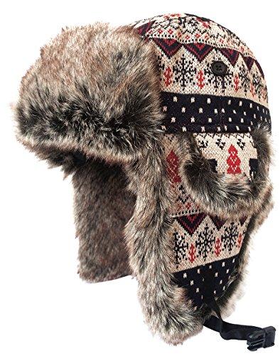 Louechy Unisex Kamosa Knit Trapper Hat Ski Outdoor Warm Winter Caps 2121-XL Brown