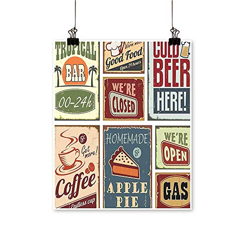 Hanging Painting Vintage Style Signs Advertising Beverage Coffee Drink Aged Glass Tropical Logo Rich in Color,12