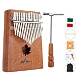 ADM Thumb Piano 17 keys Kalimba African Mahogany Mbira Maple Leaf Sound Hole with Music Book Tune Hammer and Bag