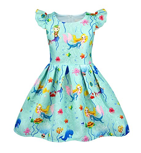HenzWorld Little Mermaid Ariel Casual Dress Playwear Girls Princess Birthday Party Ruffle Outfit ()