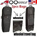 2pcs A99 Golf T07 Travel Bags Cover Tour Luggage Wheeled Carry Black