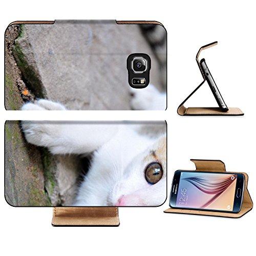 Luxlady Premium Samsung Galaxy S6 Edge Flip Pu Leather Wallet Case IMAGE 21428598 cute white - Sit Asian Face