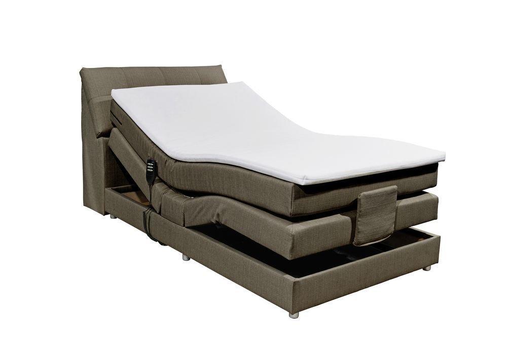 Boxspringbett 120x200 Elektrisch Verstellbar Mit Motor Bettkasten Farbe Stone Inkl Komfortschaum Topper Matratze 7 Zonen Tonnentaschenfederkern