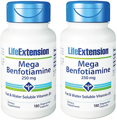 Life Extension Mega Benfotiamine 250 mg 180 Capsules (Pack of 2), Vegetarian Vitamin B Supplement with Thiamine