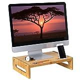 SONGMICS Bamboo Monitor Stand Desktop Riser Desk Organizer with Storage Slots for Computer Laptop TV Natural ULLD211N