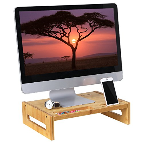 SONGMICS Bamboo Monitor Stand Desktop Riser Desk Organizer with Storage Slots for Computer Laptop TV Natural ULLD211N