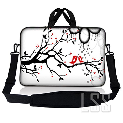 LSS 11 inch Laptop Sleeve Bag Compatible with Acer, Asus, Dell, HP, Sony, MacBook and More | Carrying Case Pouch w/Handle & Adjustable Shoulder Strap, Lovebirds Eyecatching Red On Black and White