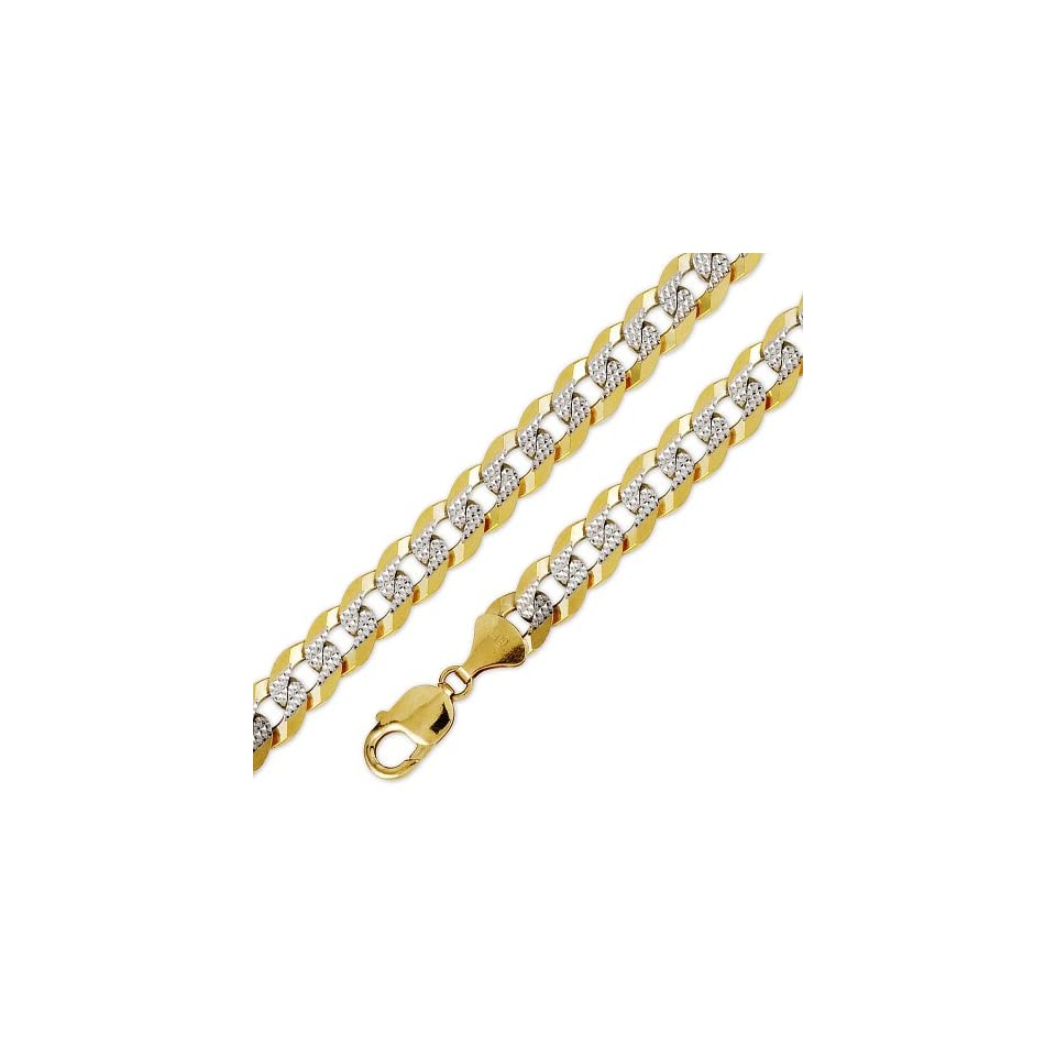 10K Solid Yellow White 2 Two Tone Gold Flat Curb Cuban Diamond Cut Chain Necklace 11mm 30