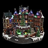 12.5 in. Animated Holiday Downtown, LED Lighted Animated Snowy Christmas Village House Scene