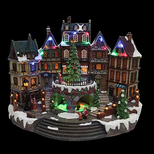 12.5 in. Animated Holiday Downtown, LED Lighted Animated Snowy Christmas Village House Scene by Home Accents Holiday
