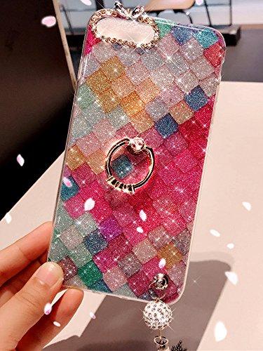 iPhone 8 Case,iPhone 7 Case,iPhone 8 Glitter Case,ikasus Bling Rhinestone Diamond Glitter Sparkle Ring Kickstand Tassel Pendant Soft Silicone TPU Bumper Protective Cover Case for iPhone 8/7,Fish Scale