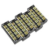 uxcell 5 Pcs 5 Positions Dual Rows 600V 45A Wire Barrier Block Terminal Strip TB-4505L
