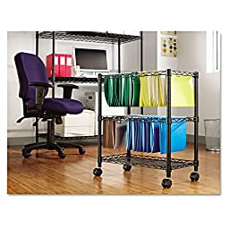 Alera FW601426BL Two-Tier Rolling File Cart, 26w x14d x 30h, Black