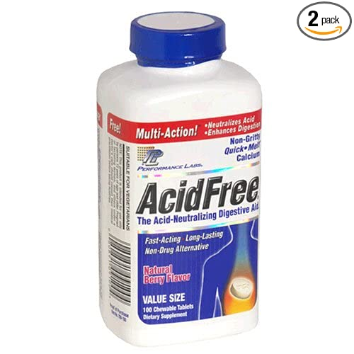 Performance Labs AcidFree Acid-Neutralizing Digestive Aid, Natural Berry,  100 Chewable Tablets (Pack of 2)
