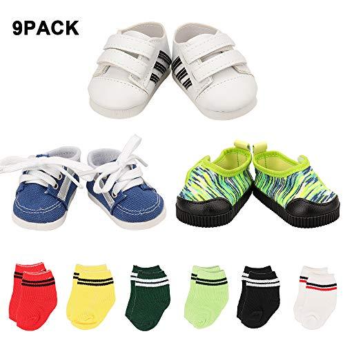 [해외]Mylass Lot 9 핸드메이드 아이템 45.7cm 소년 인형 EU CE-EN71 인증 스니커즈 3개 + 미국 소녀 소년 인형 6켤레 무료 양말 / Mylass Lot 9 Handmade It for 18 Inch Boy Doll EU CE-EN71 Certified Include?3 Sneakers + 6 Pair Free Socks for Amer...