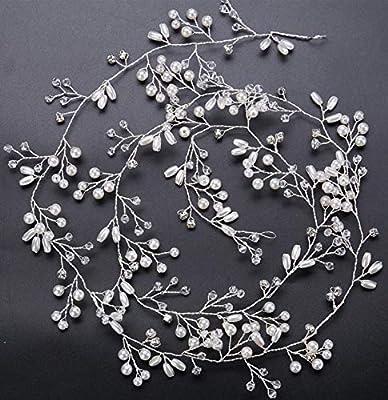Wedding Hair Vine Crystal Pearl Headband Bridal Accessories Long Chain Headpiece
