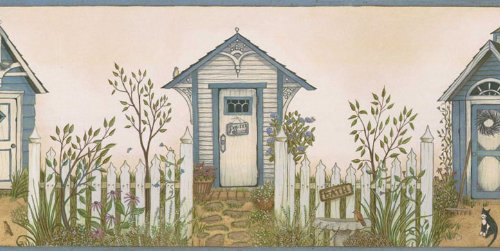 Outhouse Wallpaper Borders - Cottage Outhouse Wallpaper Border, Blue Trim