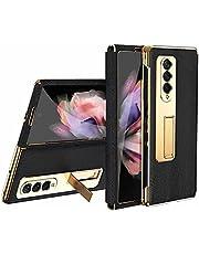 FTRONGRT Telefoonhoesje voor Samsung Galaxy Z Fold 3 beschermhoes, galvaniseren gouden frame + leer, 180° willekeurig vouwen, verborgen beugel ontwerp. zwart