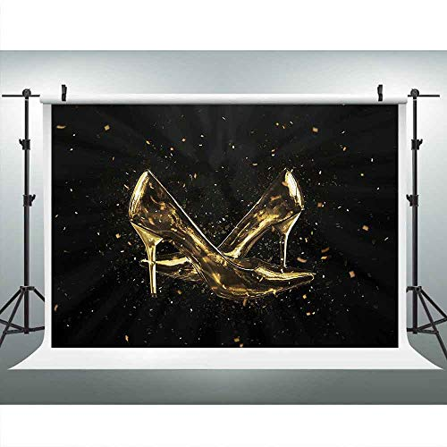 - LUCKSTY Gold High Heels Backdrops for Photography 9x6FT Lady Birthday Party Black Photo Backgrounds Photo Booth Studio Props LULX052