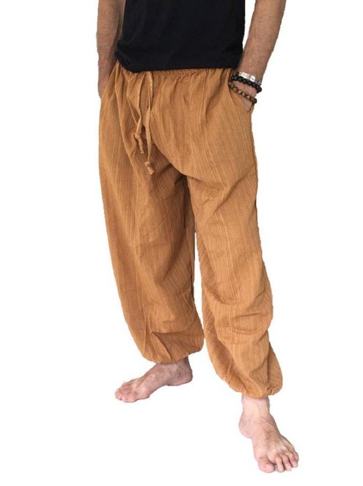 Love Quality Baggy Pants Men's One Size Cotton Harem Pants Hippie Boho Trousers (Rust)