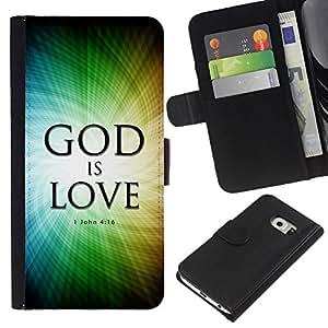 KLONGSHOP // Tirón de la caja Cartera de cuero con ranuras para tarjetas - BIBLIA Dios es amor Juan 4:16 - Samsung Galaxy S6 EDGE //