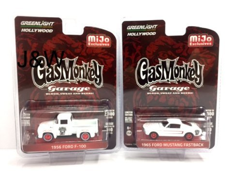 Greenlight 51119 1956 Ford F-100 Pickup Truck and 1965 Ford Mustang Fastback White Set of 2 Cars Gas Monkey Garage (2012-Current TV Series) 1/64 Diecast Model Cars