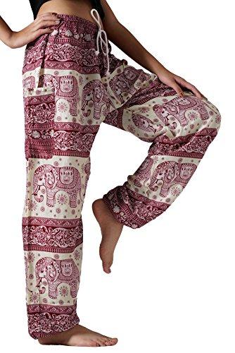 Bangkokpants Hippie Boho Pants Bohemian Elephant Unisex One Size US Size 0-12 (Red)