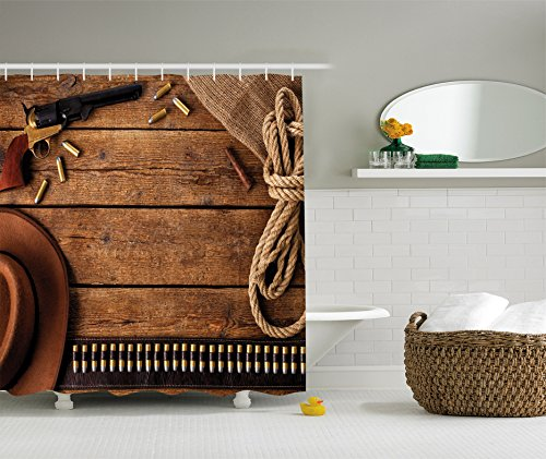 Ambesonne Western Decor Collection, Cowboy Gun Belt and Vintage Rope Hat Cigar on Rustic Wooden Picture, Polyester Fabric Bathroom Shower Curtain Set with Hooks, 84 Inches Extra Long, Brown Beige
