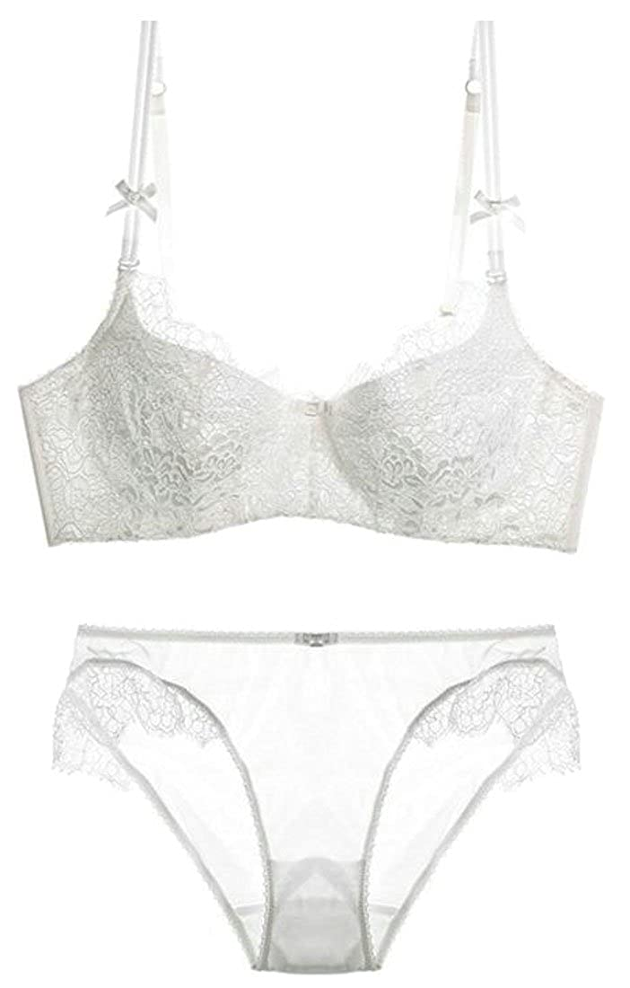 41accb0d17ff5 Smallwin Womens See Through Lace Cute Adjustable Straps Everyday Bras Set  White US 32A at Amazon Women s Clothing store