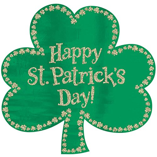 Shamrock Cut Out Decoration - Amscan Happy St. Patrick's Day Glitter Green Shamrock Sign Cutout | Party Decoration
