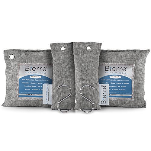 Mildew Odor - Bierre 4 Pack, 100% Bamboo Activated Charcoal Air Purifying Bags - Eco Friendly Natural Odor Remover - Unscented, Non Chemical - Removes Bacteria, Allergens, Pollutants, Absorbs Moisture, Mold, Mildew