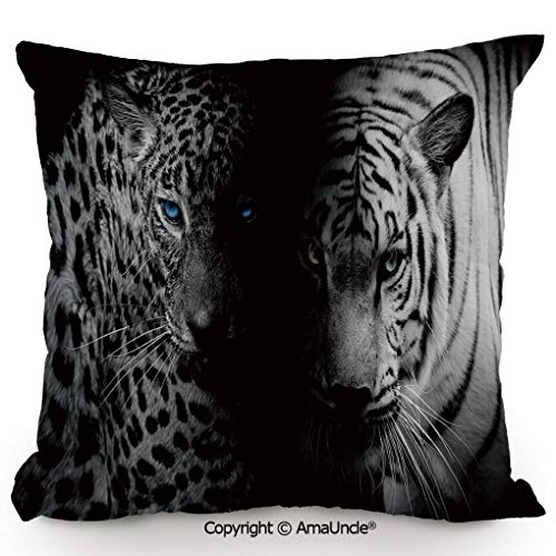 AmaUncle Personality Customization Pillow Leopards Blue Eyes Aggressive Powerful Wildcat Profile,W18xL18 Inches,Stylish Design Throw Pillow for Bed Sofa Couch Chair Back Seat Home Decor ()