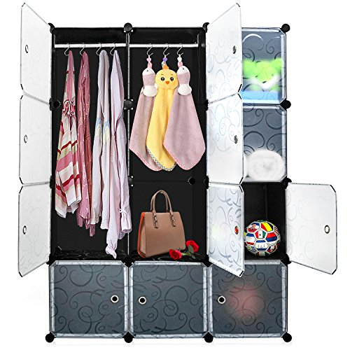DIY Cube Organizer, Carttiya Modular Shelving Storage Organizer, Closet Wardrobe with Magnetic Doors, Modular Closet System Cube Organizer with Hanging Rods for Clothes, Shoes and Toys, 12 (Modular Storage Shelving)