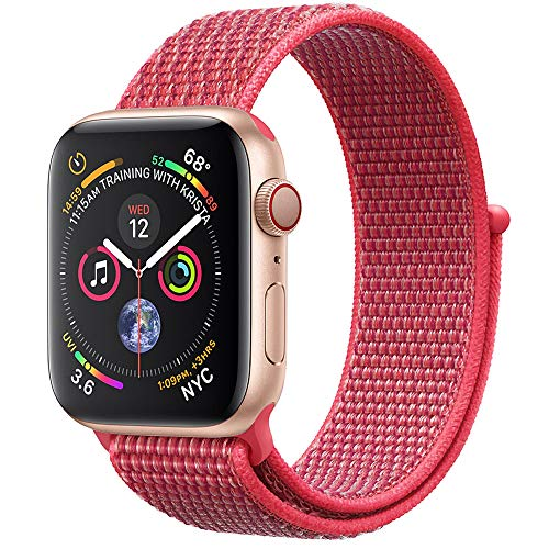 RUOQINI Compatible with Apple Watch Band 42MM Series 3/2/1 Soft Lightweight Nylon Loop Replacement Strap for iWatch 3,Hibiscus