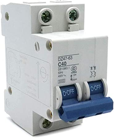 2 Pole Miniature Circuit Breaker DZ47-60 C40 AC230//400V 2P 40A Rated Current B
