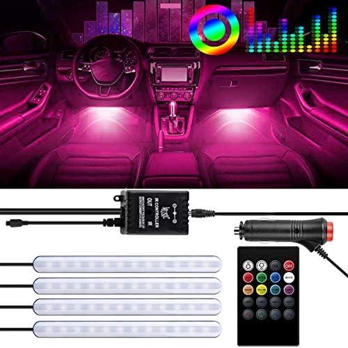 Led Car Lights Interior,Car LED Strip Light 4 Pieces 48 LED DC 12V Multicolor Car Interior Music Light LED Underdash Lighting Kit with Wireless Remote Control Including Car Charger SG