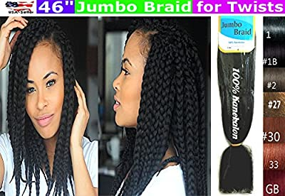 100% Kanekalon Braiding Hair, Jumbo Braiding Hair, KK Braiding hair, Jumbo Braiding Hair, Braids Hair Extensions for Twists, 3 packs