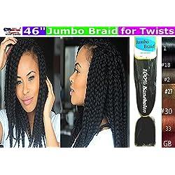 100% Kanekalon Braiding Hair, Jumbo Braiding Hair, KK Braiding hair, Jumbo Braiding Hair, Braids Hair Extensions for Twists, 3 packs, Color #2 Dark Brown