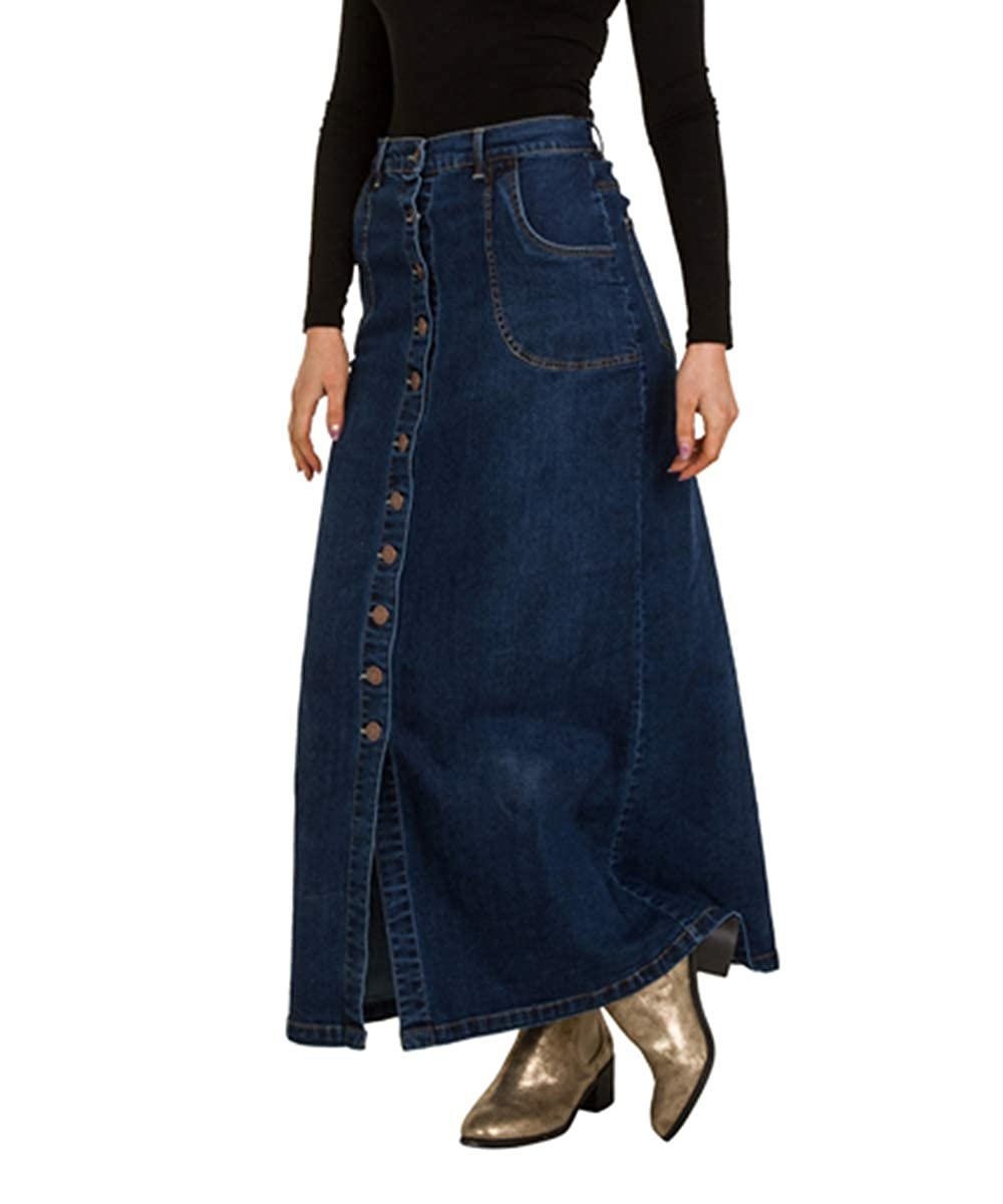 d441aead38 USKEES Toni Button Front Long Denim Skirt - Midwash Full Length Maxi Jean  8-10 Blue at Amazon Women's Clothing store:
